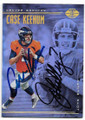 CASE KEENUM & JOHN ELWAY DENVER BRONCOS DOUBLE AUTOGRAPHED FOOTBALL CARD #121219A