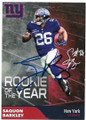 SAQUON BARKLEY NEW YORK GIANTS AUTOGRAPHED ROOKIE OF THE YEAR FOOTBALL CARD #121219D