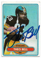 THEO BELL PITTSBURGH STEELERS AUTOGRAPHED VINTAGE FOOTBALL CARD #121319D