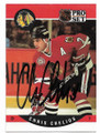 CHRIS CHELIOS CHICAGO BLACKHAWKS AUTOGRAPHED VINTAGE HOCKEY CARD #121919D