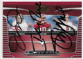 JOE MONTANA, JERRY RICE & STEVE YOUNG SAN FRANCISCO 49ers TRIPLE AUTOGRAPHED FOOTBALL CARD #10520B