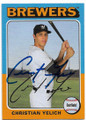 CHRISTIAN YELICH MILWAUKEE BREWERS AUTOGRAPHED BASEBALL CARD #11820A