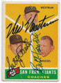 WES WESTRUM, SALTY PARKER & BILL POSEDEL SAN FRANCISCO GIANTS TRIPLE AUTOGRAPHED VINTAGE BASEBALL CARD #12120D