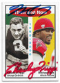 CHARLEY TRIPPI & MICHAEL VICK CHICAGO CARDINALS AND ATLANTA FALCONS DOUBLE AUTOGRAPHED FOOTBALL CARD #31320C