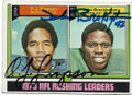 OJ SIMPSON & JOHN BROCKINGTON BUFFALO BILLS & GREEN BAY PACKERS DOUBLE AUTOGRAPHED VINTAGE FOOTBALL CARD #32820A