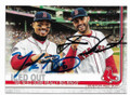 JD MARTINEZ & MOOKIE BETTS BOSTON RED SOX DOUBLE AUTOGRAPHED BASEBALL CARD #33020A