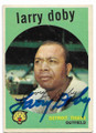 LARRY DOBY DETROIT TIGERS AUTOGRAPHED VINTAGE BASEBALL CARD #40120D