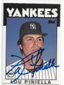 LOU PINIELLA NEW YORK YANKEES AUTOGRAPHED VINTAGE BASEBALL CARD #40720A