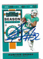 KENYAN DRAKE MIAMI DOLPHINS AUTOGRAPHED FIOOTBALL CARD #41720B