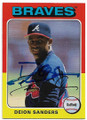 DEION SANDERS ATLANTA BRAVES AUTOGRAPHED BASEBALL CARD #41720D
