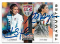 ALEX MORGAN & HOPE SOLO USA WOMEN'S SOCCER DOUBLE AUTOGRAPHED SOCCER CARD #41820B
