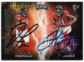DEVONTA FREEMAN & JULIO JONES ATLANTA FALCONS DOUBLE AUTOGRAPHED FOOTBALL CARD #50420F