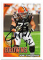 JOE THOMAS CLEVELAND BROWNS AUTOGRAPHED FOOTBALL CARD #50720C