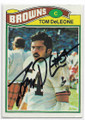 TOM DeLEONE CLEVELAND BROWNS AUTOGRAPHED VINTAGE FOOTBALL CARD #51320D