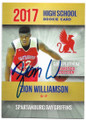 ZION WILLIAMSON NEW ORLEANS PELICANS AUTOGRAPHED ROOKIE BASKETBALL CARD #52020G