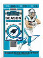 CHRISTIAN McCAFFREY CAROLINA PANTHERS AUTOGRAPHED FOOTBALL CARD #52720E