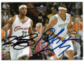 LeBRON JAMES & CARMELO ANTHONY CLEVELAND CAVALIERS & DENVER NUGGETS DOUBLE AUTOGRAPHED ROOKIE BASKETBALL CARD #60220D