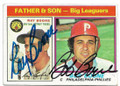 RAY BOONE & BOB BOONE DETROIT TIGERS & PHILADELPHIA PHILLIES DOUBLE AUTOGRAPHED VINTAGE BASEBALL CARD #60220E