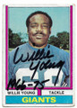 WILLIE YOUNG NEW YORK GIANTS AUTOGRAPHED VINTAGE FOOTBALL CARD #60520B