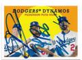 JOC PEDERSON, YASIEL PUIG & MATT KEMP LOS ANGELES DODGERS TRIPLE AUTOGRAPHED BASEBALL CARD #60520E
