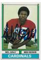 MEL GRAY ST LOUIS CARDINALS AUTOGRAPHED VINTAGE FOOTBALL CARD #62020C