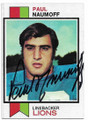 PAUL NAUMOFF DETROIT LIONS AUTOGRAPHED VINTAGE ROOKIE FOOTBALL CARD #62220C