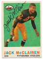 JACK McCLAIREN PITTSBURGH STEELERS AUTOGRAPHED VINTAGE FOOTBALL CARD #62720B