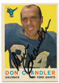 DON CHANDLER NEW YORK GIANTS AUTOGRAPHED VINTAGE FOOTBALL CARD #62720E