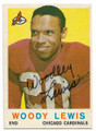WOODLEY LEWIS CHICAGO CARDINALS AUTOGRAPHED VINTAGE ERROR FOOTBALL CARD #62820B