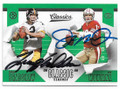 TERRY BRADSHAW & JOE MONTANA PITTSBURGH STEELERS & SAN FRANCISCO 49ers DOUBLE AUTOGRAPHED FOOTBALL CARD #62820H