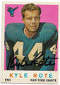 KYLE ROTE NEW YORK GIANTS AUTOGRAPHED VINTAGE FOOTBALL CARD #63020E