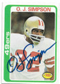 OJ SIMPSON SAN FRANCISCO 49ers AUTOGRAPHED VINTAGE FOOTBALL CARD #72720C