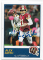 ALEX SMITH WASHINGTON REDSKINS AUTOGRAPHED FOOTBALL CARD #80820D