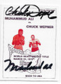 MUHAMMAD ALI & CHUCK WEPNER DOUBLE AUTOGRAPHED BOXING CARD #81120B