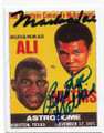 MUHAMMAD ALI & BUSTER MATHIS DOUBLE AUTOGRAPHED BOXING CARD #81420A