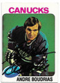 ANDRE BOUDRIAS VANCOUVER CANUCKS AUTOGRAPHED VINTAGE HOCKEY CARD #82920F