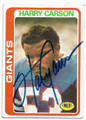 HARRY CARSON NEW YORK GIANTS AUOGRAPHED VINTAGE FOOTBALL CARD #91120E