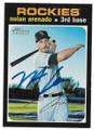 NOLAN ARENADO COLORADO ROCKIES AUTOGRAPHED BASEBALL CARD #91320B