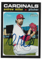 ANDREW MILLER ST LOUIS CARDINALS AUTOGRAPHED BASEBALL CARD #91320F