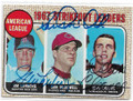 JIM LONBORG, SAM McDOWELL & DEAN CHANCE BOSTON RED SOX, CLEVELAND INDIANS & MINNESOTA TWINS TRIPLE AUTOGRAPHED VINTAGE BASEBALL CARD #92820D