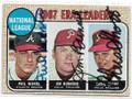 PHIL NIEKRO, JIM BUNNING & CHRIS SHORT ATLANTA BRAVES & PHILADELPHIA PHILLIES TRIPLE AUTOGRAPHED VINTAGE BASEBALL CARD #100320A