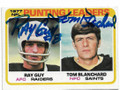 RAY GUY & TOM BLANCHARD OAKLAND RAIDERS & NEW ORLEANS SAINTS DOUBLE AUTOGRAPHED VINTAGE FOOTBALL CARD #100820C