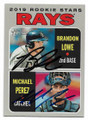 BRANDON LOWE & MICHAEL PEREZ TAMPA BAY RAYS DOUBLE AUTOGRAPHED ROOKIE BASEBALL CARD #111520A