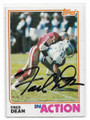 FRED DEAN SAN FRANCISCO 49ers AUTOGRAPHED VINTAGE FOOTBALL CARD #112320F