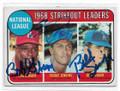 BOB GIBSON, FERGIE JENKINS & BILL SINGER ST LOUIS CARDINALS, CHICAGO CUBS & LOS ANGELES DODGERS TRIPLE AUTOGRAPHED VINTAGE BASEBALL CARD #113020C