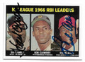 HANK AARON & RICHIE ALLEN ATLANTA BRAVES & PHILADELPHIA PHILLIES DOUBLE AUTOGRAPHED BASEBALL CARD #113020F