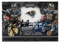 MARSHALL FAULK & ISAAC BRUCE ST LOUIS RAMS DOUBLE AUTOGRAPHED FOOTBALL CARD #11121D