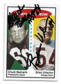 CHUCK BEDNARIK & BRIAN URLACHER PHILADELPHIA EAGLES & CHICAGO BEARS DOUBLE AUTOGRAPHED FOOTBALL CARD #22021E
