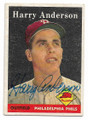 HARRY ANDERSON PHILADELPHIA PHILLIES AUTOGRAPHED VINTAGE BASEBALL CARD #22421B