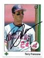 TERRY FRANCONA CLEVELAND INDIANS AUTOGRAPHED VINTAGE BASEBALL CARD #32221B